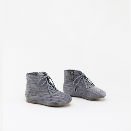 GREY LEATHER BOOTIE