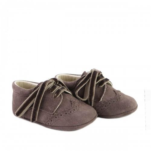 Suede baby derbie shoe