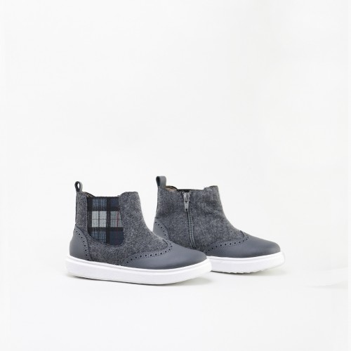Checked elastic Chelsea boot