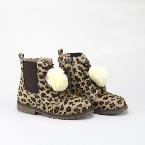 Fur ball leopard Boot