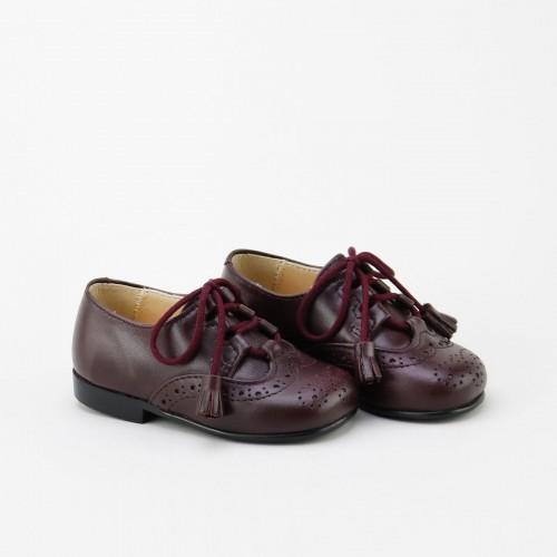 Zapato inglés napa burdeos