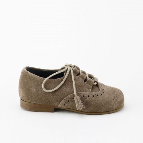 Zapato ingles serraje taupe