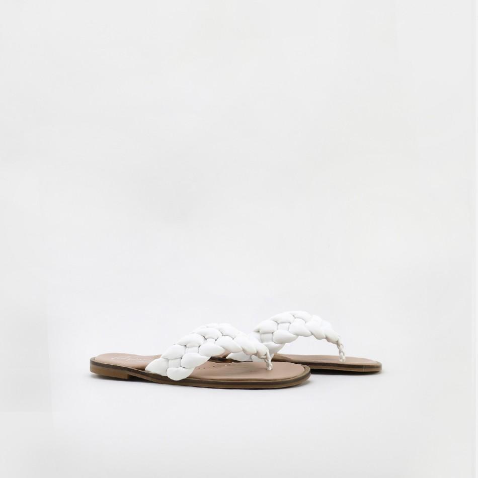 Sandalias blancas con tiras trenza para mujer y niñas