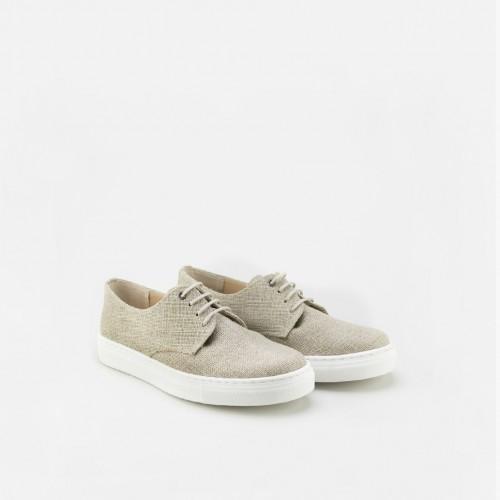 Sport sole linen derbie shoe