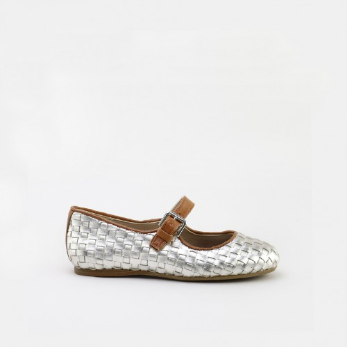 Weaved leather mary-janes