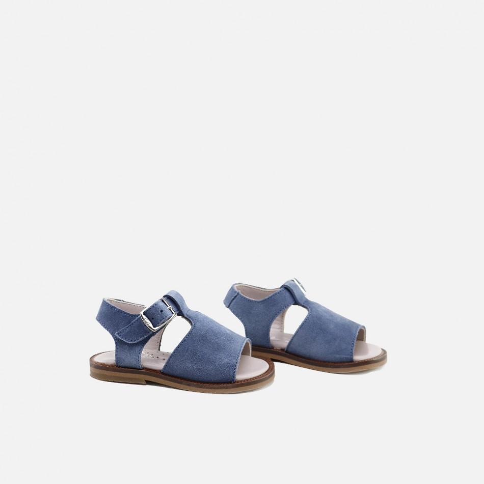 Sandalias clásicas de serraje en azul océano