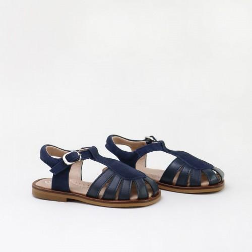 Sandalias cangrejeras de piel para niños en azul marino