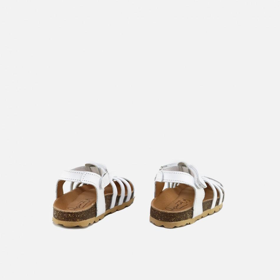 Sandalias bio cangrejeras en vaqueta blanco