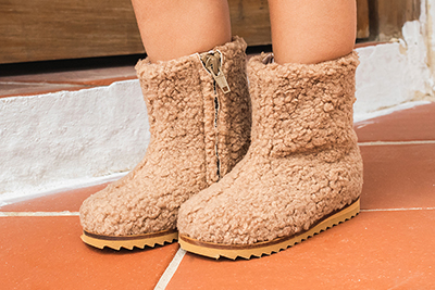 Teddy Camel fur booties